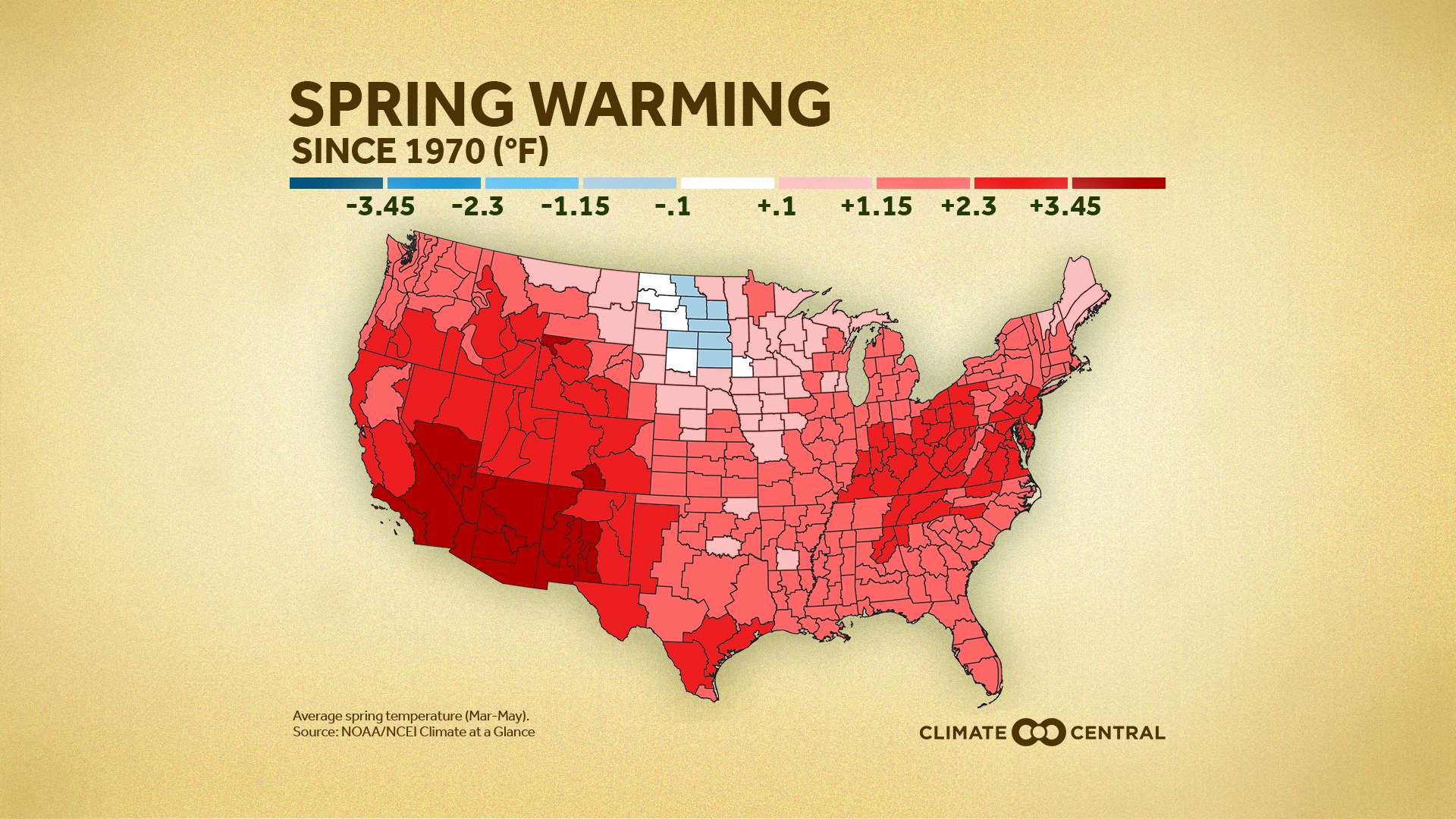 National: map of temperature trends by state